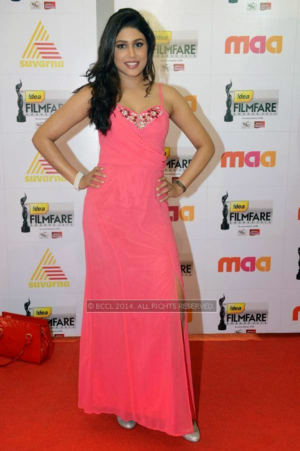 Manisha Yadav during the 61st Idea Filmfare Awards South, held at Jawaharlal Nehru Stadium in Chennai, on July 12, 2014.