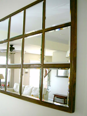diy beveled mirror family room