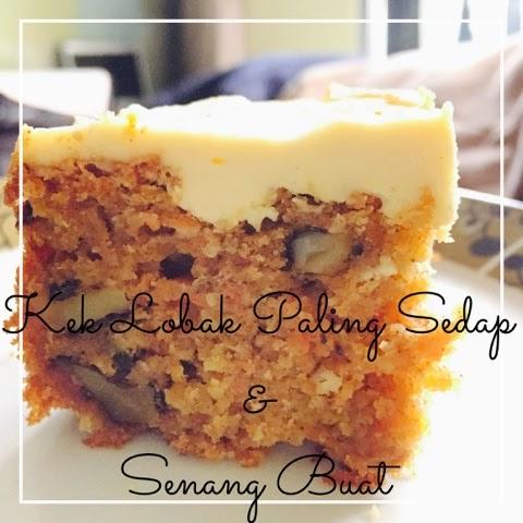 resepi carrot cake, kek lobak merah, resepi kek carrot, resepi kek carrot simple,
