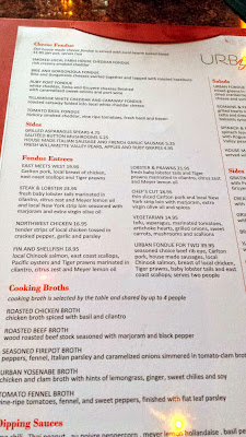 Urban Fondue menu