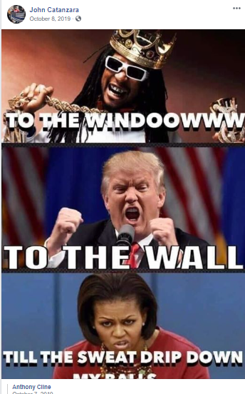 Facebook post by Catanzara with image of Trump and Michelle Obama