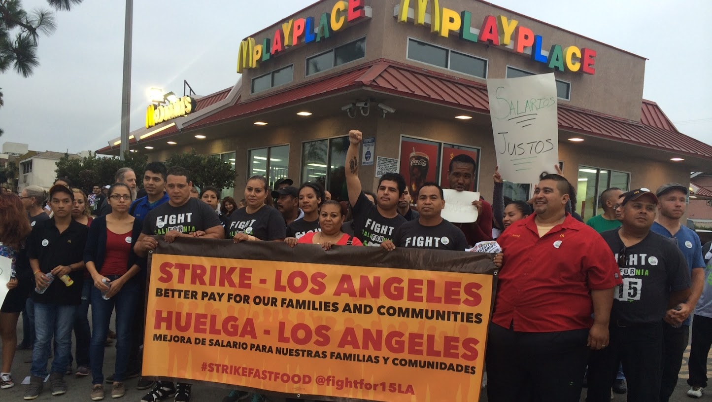 Strike for higher wage at a Los Angeles McDonald's