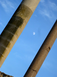 Columns in front of the moon in Tunis Tunisia
