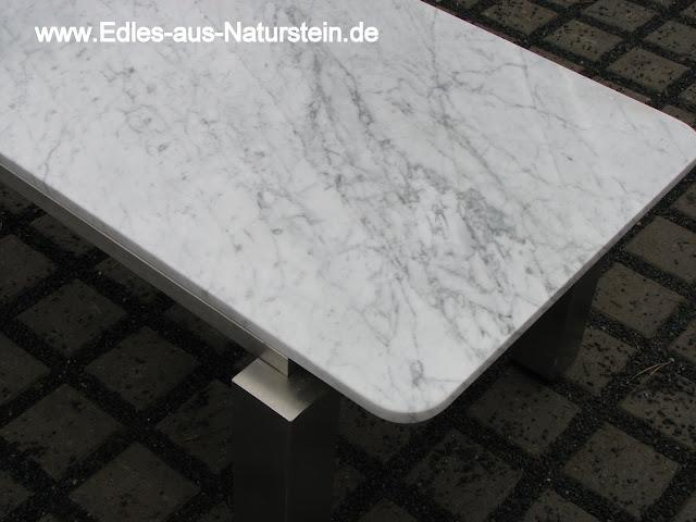 Tisch couchtisch edelstahltisch weisser marmor wohnzimmer for Marmor tischplatte oval
