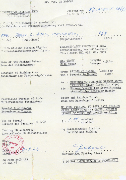 A day license for Red Traun in Germany, one of Hemingway's favorite fishing holes.