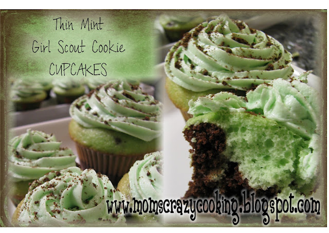 Thin Mint Girl Scout Cookie Cupcakes