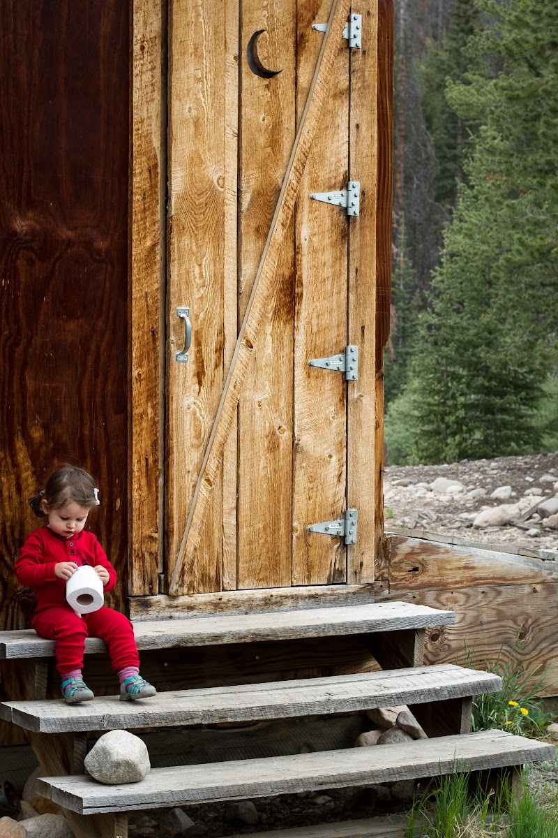 Annalise at the outhouse