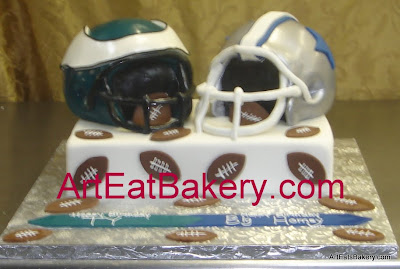 Cowboys and Eagles 3D football helments custom designed fondant birthday cake