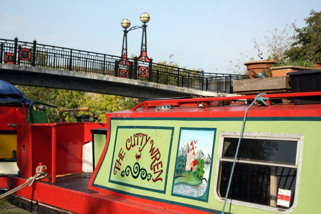 Boat along the Grand Union Canal in Little Venice London