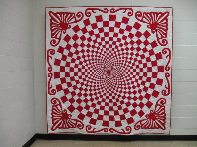 Red and White 1910 Vortex Quilt