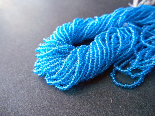 Transparent Sea Blue Czech Seed Beads