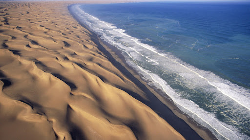 Breaking Waves and Desert Dunes, Namib Desert, Africa.jpg