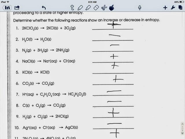 Worksheets. Entropy Worksheet. Laurenpsyk Free Worksheets and ...