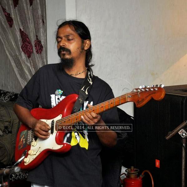 Sanjay  from the band Bramhakhyapa performs at Plush in Kolkata.