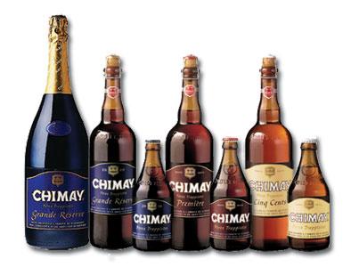 Bruselas Valonia: Cerveza de abadia Chimay: sus diferentes variedades presentadas en botellas de distintos tamaños