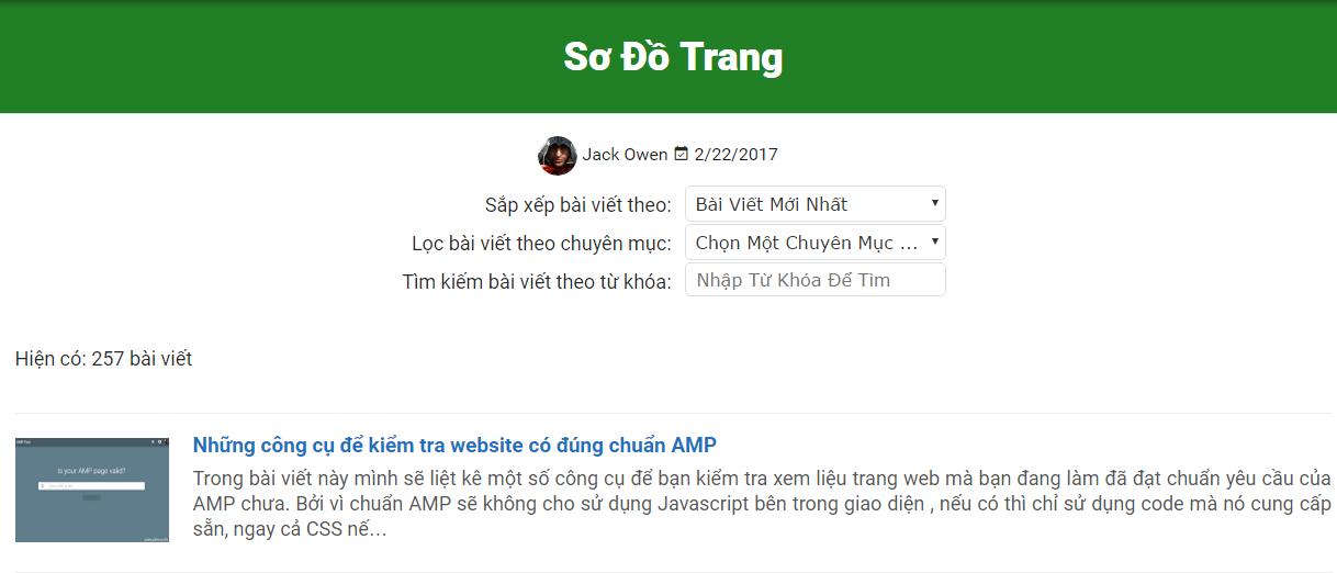 Tạo sơ đồ trang cho Blogger kèm hiệu ứng tải sử dụng Ajax