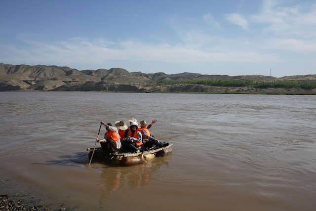 sheep skin raft on the Yellow River at Shapotou in Ningxia