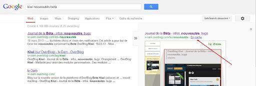 """Lien """"en cache"""" sur Google."""