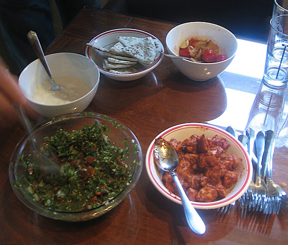 taouk (Lebanese chicken kababs) with toum (garlic sauce) & tabbouleh