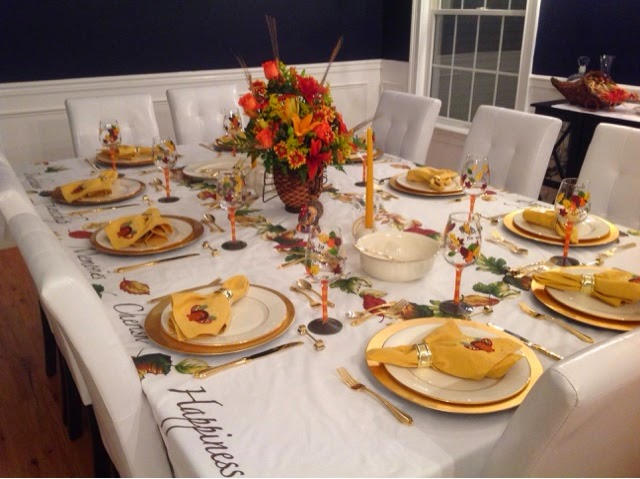 I wanted to stick to some of the old traditions I have for my table. I like to use my gold charger plates and Goldwater. My turkey center piece has been on ...