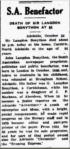 Death of Sir L Bonython Northern Times (Carnarvon, WA Friday 27 October 1939)