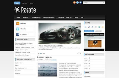 Dark Black Cars Abstract Blogger Layout Template