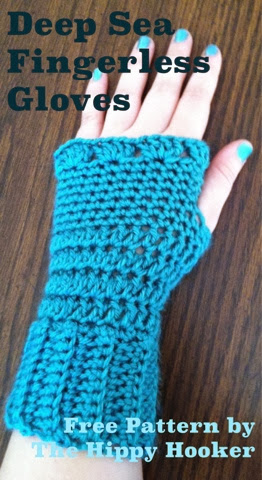 Double Crochet Fingerless Gloves Free Pattern : The Hippy Hooker: Deep Sea Fingerless Gloves - Free ...