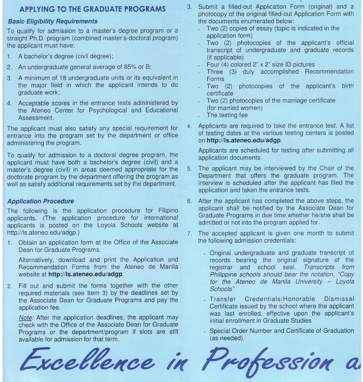 Graduate Programs Brochure for SY 2012-13 of Loyola Schools, Ateneo de Manila University