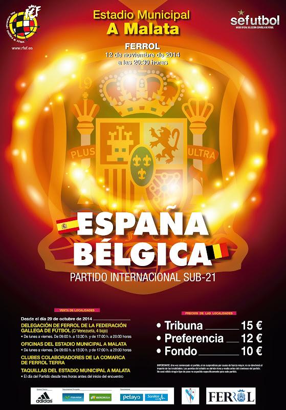 Cartel partido, Selección Sub-21 España e Belxica.