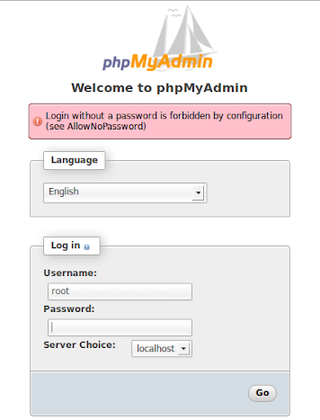 Login without a password is forbidden by configuration (see AllowNoPassword)