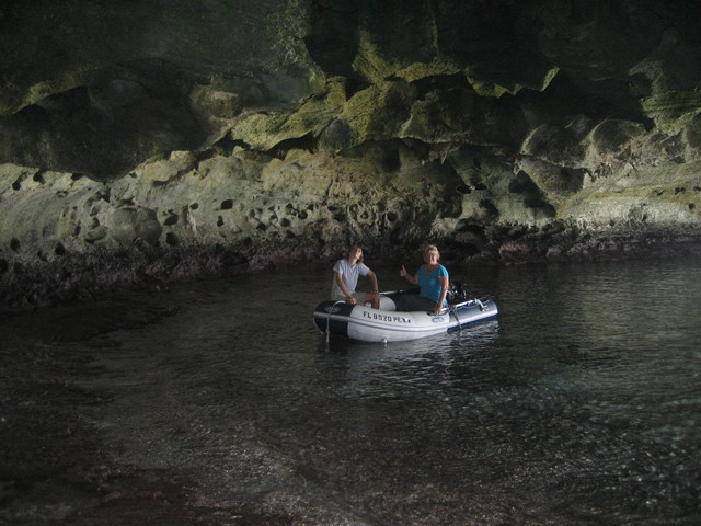dinghy in cave vestibule