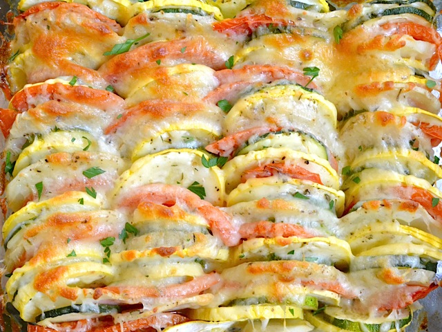 Close up top view of baked vegetable tian
