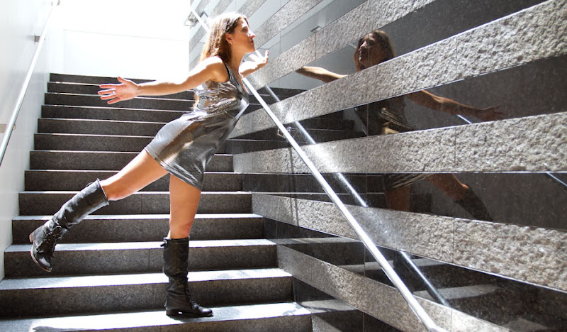 Disco Mini Gown Stairway wall reflection