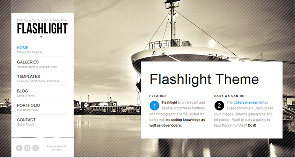 Flashlight Full Screen WordPress Theme
