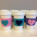 Crocheted Heart Coffee Cozy's