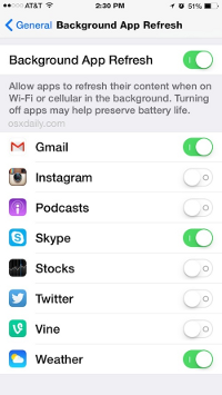 iOS8 - Disable Background App Refresh