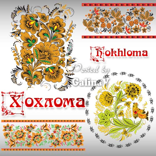 Hokhloma � ancient Russian national trade, clipart PNG