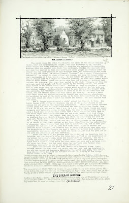A Record of Shelford Parva by Fanny Wale P27 fo. 28, page 27: At the top of the page is a black and white watercolour of the chapel, Ellums thatched cottage, Stearn's House, Butlars House and shop, Elbourns house and Kings Farm. A description of Mrs. Cooper's private school, written in 1915. A note about the Roll of Honour is at the bottom of the page. [fo.24 but within mount C]