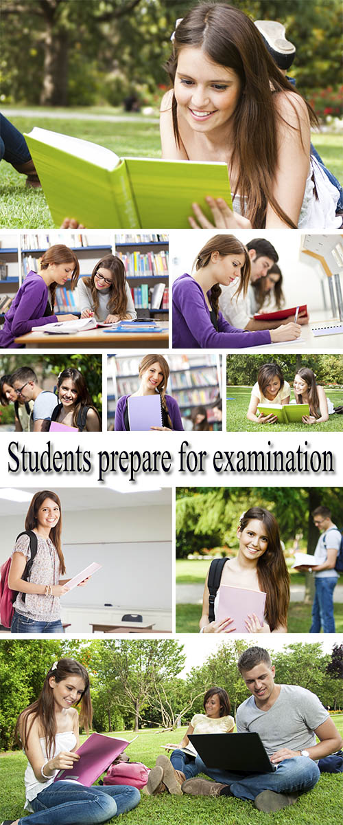 Stock Photo: Students prepare for examination