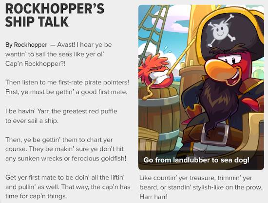Club Penguin Times Rockhopper's Ship Talk