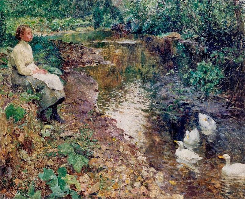 Evariste Carpentier - Jeune fille près du ruisseau
