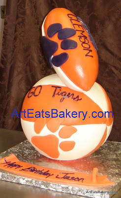 3D orange, white and purple Clemson Tigers fondant basketball and football custom mens birthday cake
