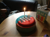 cake with candles and cake