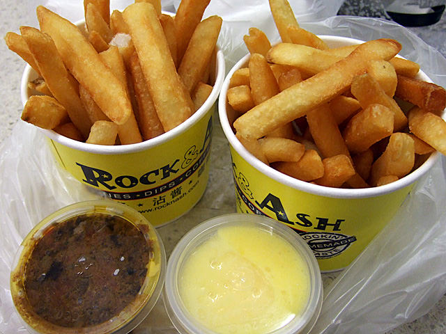 Two small fries with sauce
