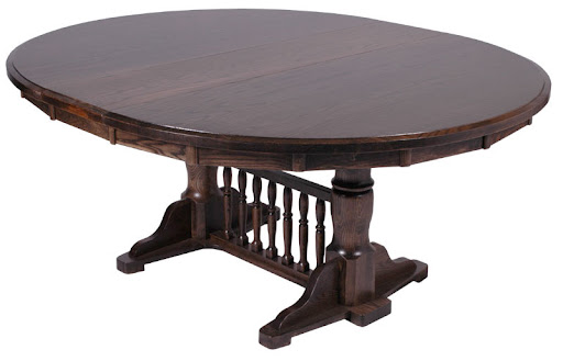 """50"""" x 42"""" Riverside Table with 12"""" Leaf in Mahogany Oak"""
