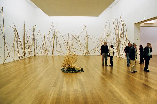 Salas com vários ramos encostados às paredes da sala, um outro ramo pousado no centro e vários espectadores conversando e apreciando a obra de arte