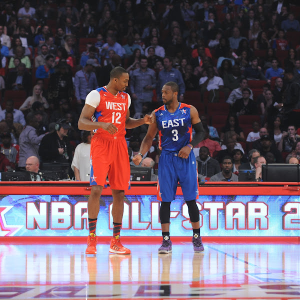 Dwyane Wade #3 of the Eastern Conference All-Stars and Dwight Howard #12 of the Western Conference All-Stars during the 2013 NBA All-Star Game presented by Kia on February 17, 2013 at the Toyota Center in Houston, Texas.