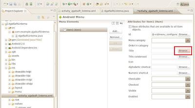 Fichero XML para crear menús en Android con Eclipse