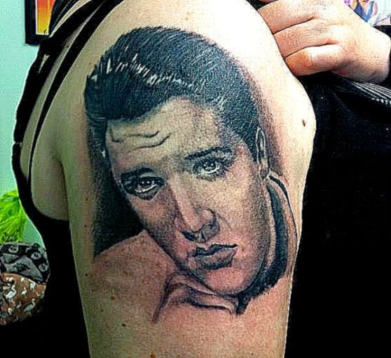 Elvis Realistic Shoulder Tattoo by Colchester Body Arts