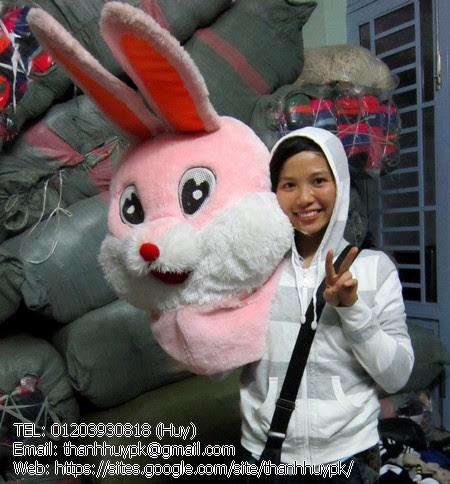 mascot con thỏ hồng dể thương